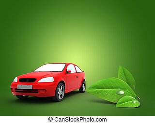 3d car with leaf