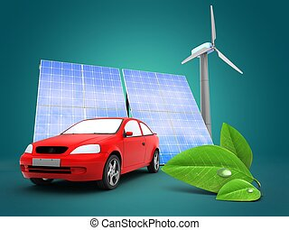 3d car with solar and wind energy