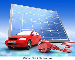 3d car with solar panel