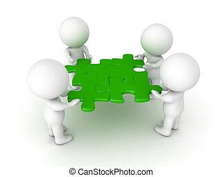 3d, caracteres, tenencia, cuatro, verde, artículos del rompecabezas