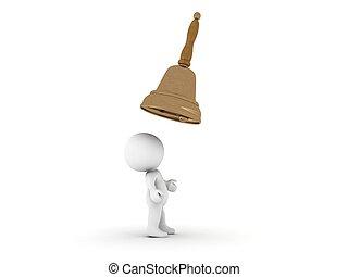 3d, carattere, con, campana, sopra, testa