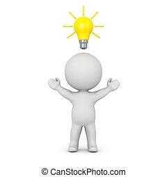 3d, carattere, con, lampadina, sopra
