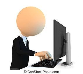 3d, carattere, lavorando, computer.