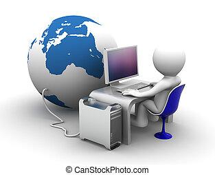 3d, carattere, lavorare computer, connectet, a, globo