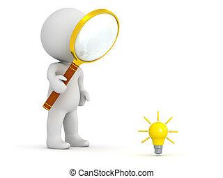 3d, carattere, ricerca, per, idea