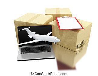 3d, carboard, scatole, con, laptop, aeroplano, e, lista