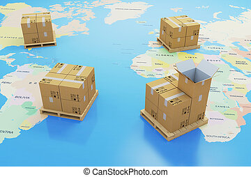 3d cardboard boxes and world map, global delivery shipping concept
