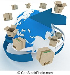 3d cardboard boxes around globe on white background....