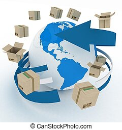 3d cardboard boxes around globe. Worldwide shipping concept.