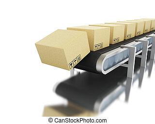 3d cardboard boxes on conveyor belt.