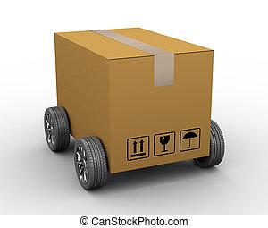 Parcel delivery. 3d render of man delivering parcel. 3d ...