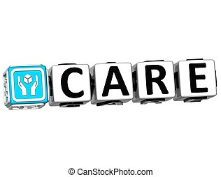 3D Care Button Click Here Block Text