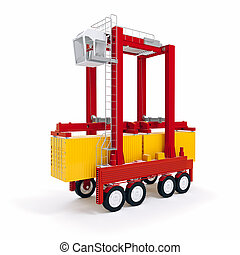 3d cargo container and crane on white background
