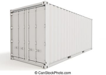 3d cargo container blank on white background