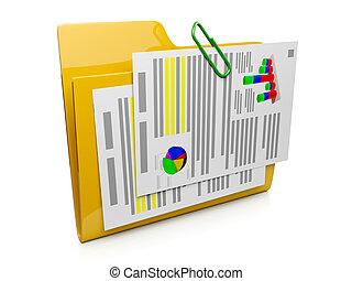 3d, carpeta, icono, con, el, documentos, a, el, computadora,...