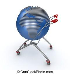 3d, carrito, global, compras