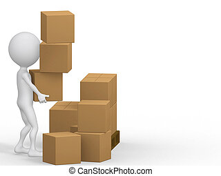 3d, carrying, boxes., картон, люди