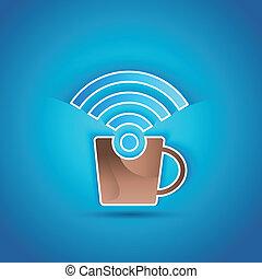 3d, carta, caffè, icona internet