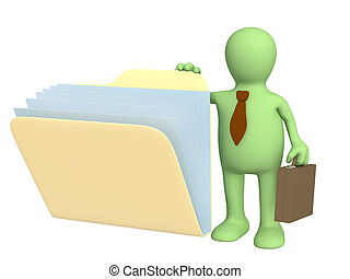 3d, cartella, documenti, burattino, apertura