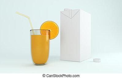 3D carton box with orange fruit. 3D rendering.