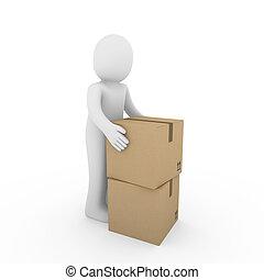 3d, carton, humain, expédition, paquet