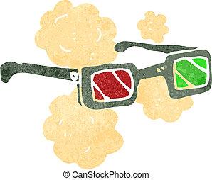 3d, cartone animato, occhiali