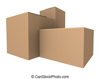 3d cartons  - 3d rendered illustration of many simple boxes