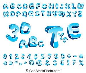 3D cartoon alphabet.