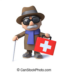 3d Cartoon blind man character comes to the rescue with a first aid kit