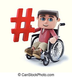 3d Cartoon boy in wheelchair holding a hash tag symbol