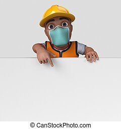 3D Cartoon Builder Character in face mask