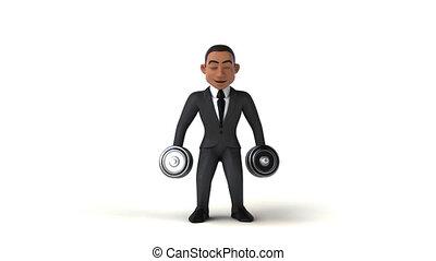 3D cartoon business man with weights