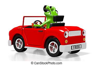 3D cartoon car and frog concept