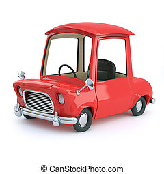 3d Cartoon car in red