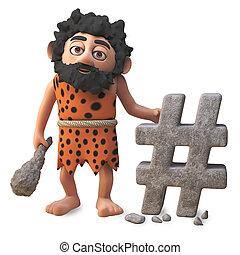 3d cartoon cavman character has made another hash tag internet social media post, 3d illustration render
