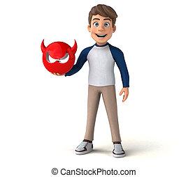 3D cartoon character fun teenager