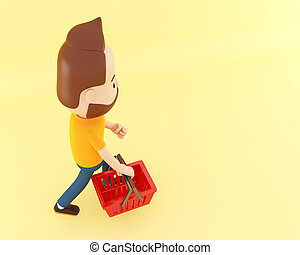 3d Cartoon character with shopping basket