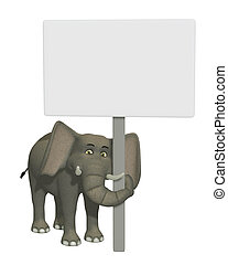 3d cartoon elephant with a blank sign