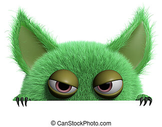 3d cartoon furry gremlin - monster