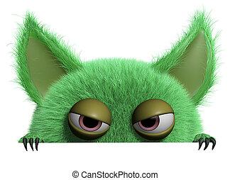 3d cartoon furry gremlin - monster