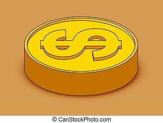 3d cartoon gold coin icon. US dollar. Money concept.
