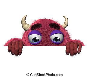 3d cartoon halloween red monster