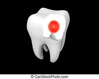 3D cartoon illustrating toothache with a red halo