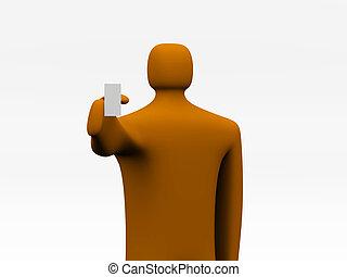 3d cartoon man with blank board