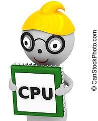 3D Cartoon man with cpu
