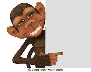 3d cartoon monkey with a blank