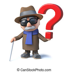 3d Cartoon old blind man character has a question mark symbol