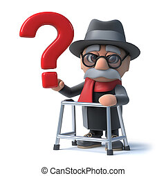 3d Cartoon old man with walking frame holds a question mark