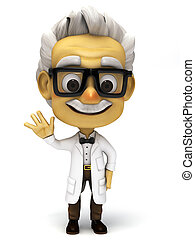 3d cartoon professor normal pose - 3d render cartoon...