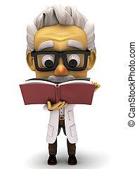 3d cartoon Professor reading a book